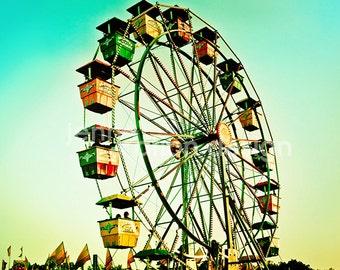 Carnival Photography, Ferris Wheel, Vintage Carnival Ride, Fair, Retro Midway Ride, Carnival Photograph Print