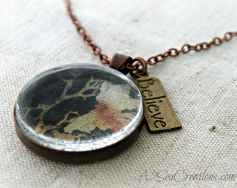 Under the Sea Pendant - Rustic Natural Jewelry - Antique Copper & Glass