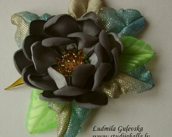 Handmade gray satin flower brooch, flower pin, embroidered flower