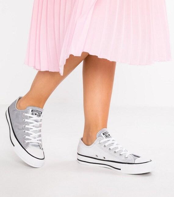 Silver Gray Converse Velvet Chuck Taylor Low Top Custom Crystal Kick Grey w/ Swarovski Rhinestone Bling All Star Bride Wedding Sneakers Shoe