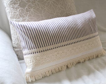 Blue Ticking Stripe Fringed Lace Pillow Cover Decorative Pillow Cover Farmhouse Decor Free Domestic Shipping