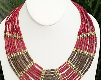 Gold, Burgandy and Brown Wood Beaded Multi Strand Necklace / Bib Necklace.