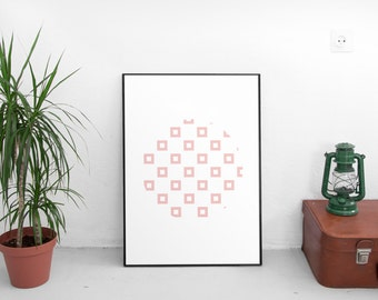 Scandinavian Art, Pink Geometric Art, Pink Artwork, Minimalist Abstract Art, Pink Art Print, Modern Abstract Art, Pink Modern Print Art