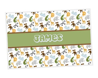 Safari Personalized Placemat - Safari Animals with name, Customized Laminated Placemat