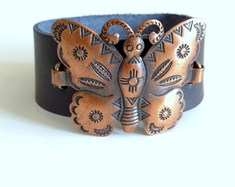 Butterfly Bracelet, Leather Bracelet, Snap Bracelet, Leather Cuff, Cuff Bracelet, Copper Jewelry, Recycled Jewelry, Upcycled Jewelry