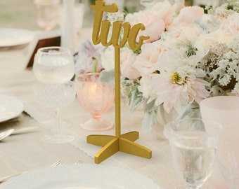 Wedding Numbers-Golden Table Numbers-Gold Wedding Numbers-Freestanding Wedding Number-Freestanding with base