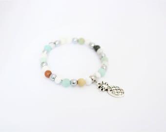 Pina colada / bracelet, amazonite, howlite and hematite, pineapple, personalized, bracelet pendant agate jewelry woman yoga bracelet