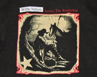 M/L * vtg 90s 1993 Willie Nelson across the borderline t shirt * medium large