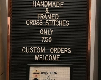 Framed Handmade Alaska Thunderf**k Latex Cross Stitch