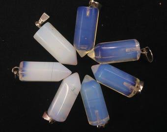 20pcs/lot - Synthetic Opalite point Pendant 9x22mm - Silver Bail,mens pendant, Dowsing Pendulum, Chakra Pendulum
