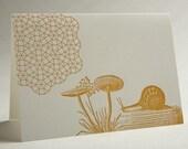 Mushroom Snail Geometry- Letterpress