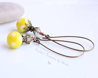 On Sale, Yellow Polka Dot, Brass Earrings, Yellow Lampwork Headpins, Swarovski Crystals, Victorian Earrings, Polka Dot Earrings