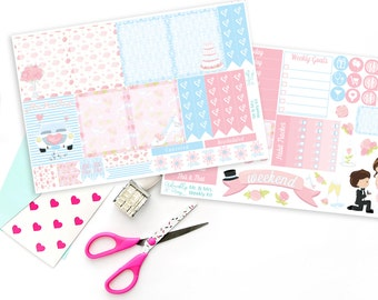 Vertical Mr & Mrs Wedding or Anniversary Weekly Planner Sticker Kit for Erin Condren, Plum Planner, Inkwell Press or Filofax Planners