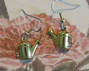 Watering Can Earrings 24 Karat Gold Plate Flower Bed Vegetable Garden Gardening EG495