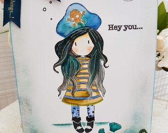 Cute Pirate Girl Handmade Greeting Card, Hey You Cutie Gorjuss Pirate Blank Card, Stamped and Watercolour card with glitter