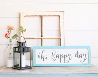 FREE SHIPPING Oh, Happy Day Farmhouse Style Rustic Wood Sign, Handmade, Inspirational Quote, Shabby Chic