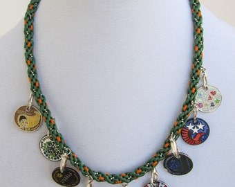 9-Pathtag Necklace, Green and Orange, Geocacher Gift, Hand-Braided Geocaching Jewelry