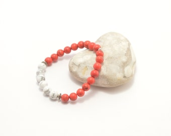 Howlite bracelet, red white bracelet, stone bracelet, beaded bracelet, howlite jewelry, stone jewelry, beaded jewelry, red white jewelry