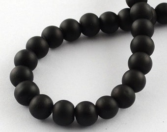 Black Beads Rubberized Glass Beads 6mm Round Glass Beads Wholesale Beads Matte Black Beads 6mm Beads 133 pieces