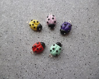 Set of 5 ladybugs made by hand in Fimo ladybirds fimo animals fimo, fimo, polymer clay, ladybug charm
