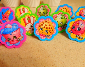 24 Shopkins Cupcake Topper Rings Birthday Party Decoration