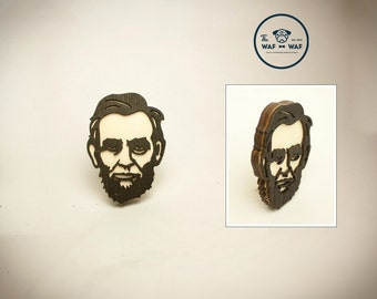 wooden Abraham Lincoln brooch, Lincoln jewelry, Lincoln brooch, Lincoln pendant, Lincoln necklace, Abe jewelry