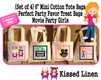 Movie Night Movies Cinema Boys Girls Birthday Party Treat Favor Gift Bags Mini Cotton Totes Children Kids Girls Set