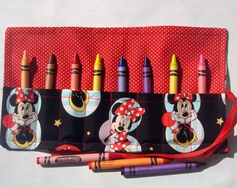 Crayon Roll Up Crayon Holder Minnie Mouse - Holds 8 Crayons