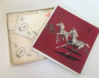 Three Vintage 1960s White Cotton Hankies Handkerchiefs with Monogrammed Silver J - St Michael for Marks and Spencer in Original Box