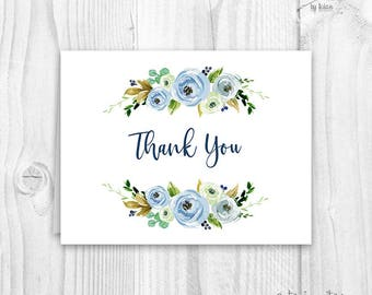Floral thank you cards, baby shower floral thank you card, boho thank you card, boy thank you card, peonie thank you card, blue floral