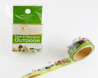 Washi Tape - Trip & Holiday - Outdoor, Masking Tape, Japanese Washi Tape, Round Top