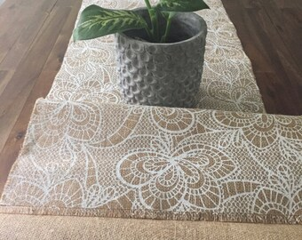 Lace Printed Burlap Table Runner
