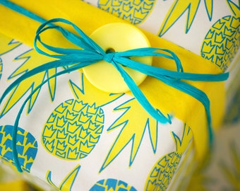 Bold Bright Pineapples with Tropical Pink Flowers Wrapping Paper Design Pattern by Jana Lam // Reversible Gift Wrap for a Unique Package
