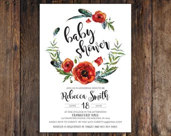 Fall or Winter Burgundy & Red Flowers with Greenery 5x7 Baby Shower Invitation