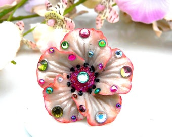 Vintage Flower ring Unique pink flower porcelain ღ cold rhinestone handmade Tikaille.