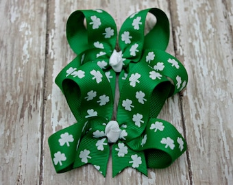 Boutique St. Patrick's Day Pigtail Set of 2 Hair Bows Shamrock Emerald Green
