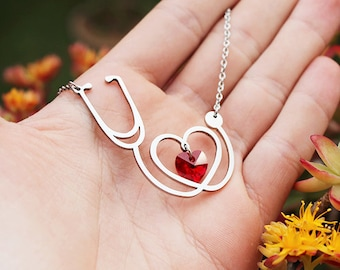Stethoscope Necklace Stainless Steel Red Crystal Heart, Nurse Necklace, Medical Jewelry, Doctor Necklace, Medicine Graduation Gift