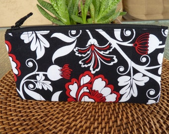 Handcrafted Floral Zipper Pouch/Travel / Cosmetic / Gadget Bag