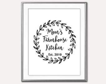 SALE Mom's -Farmhouse Kitchen Family Est Sign- Digital Print- Wall Art-Home Decor- Gallery Wall- Quote Prints-Typography- Mother's Day Gift