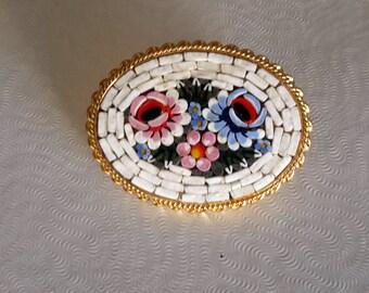 Vintage Micro Mosaic Brooch Italian Made Flower Motif