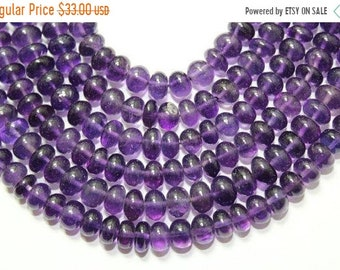 "Natural Amethyst Smooth Plane Rondelle Shape Beads Size 6mm ,Lenght 9""inch New Arrival"