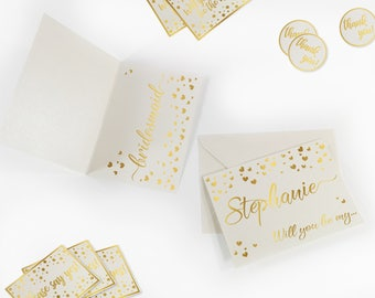 Bridesmaid gift cards Will you be my bridesmaid card Proposal card Bridesmaid cards Personalized bridesmaids cards Wedding shower cards Gold
