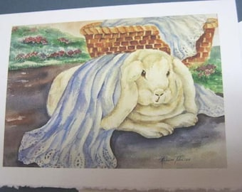 Floppy Ear Rabbit, Bunny 5 x 7 Note Card greeting Card watercolor print watercolorsNmore