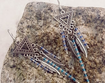 Aztec style Triangle Dangle Earrings with Feather, gift for her