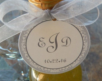 """50 Mini Wine or Champagne Bottle Custom 2"""" Favor Tags - For Wedding or Anniversary - Classic Monogram Floral Design - Thank You Favor Tags"""