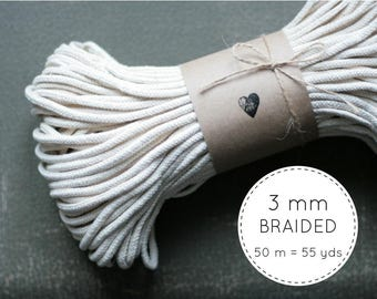 Macrame Cotton Cord (3mm) 50 meters - Macrame Cord - Natural Cotton Cord - Macrame Rope - Braided Cord - Macrame Supplies