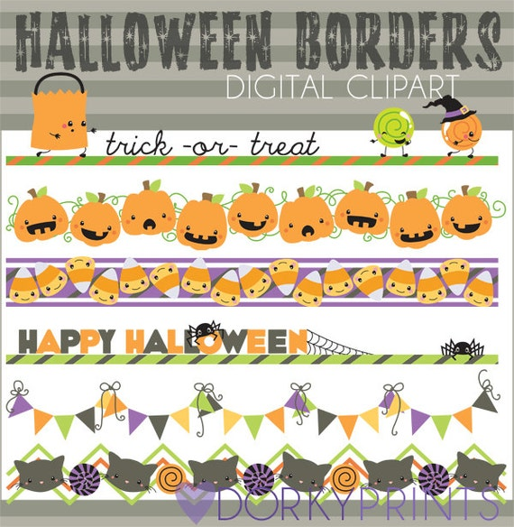 halloween clipart halloween borders personal and limited rh etsy com halloween border clip art free halloween page border clip art
