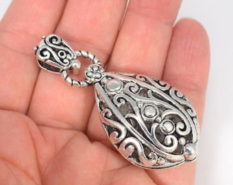 Filigree pendant etsy one 1 large pewter filigree pendant antiqued silver teardrop pendant large pewter pendant focal filigree necklace component ornate aloadofball