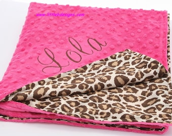 Personalized Baby Blanket - Leopard Satin and Hot Pink Minky