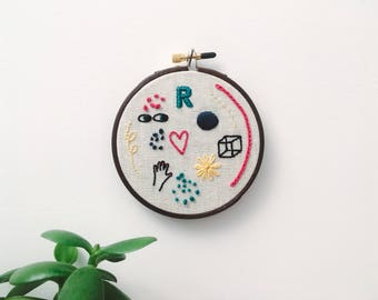 "Embroidery - Doodles hand embroidered 4"" wall hanging (hand, cube, heart, R)"